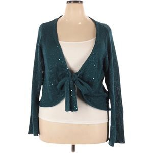A. Byer Knit Sequin Long Sleeve Front Tie Cardigan